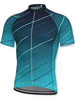 cheap -21Grams Men's Short Sleeve Cycling Jersey Spandex Blue Gradient Bike Top Mountain Bike MTB Road Bike Cycling Breathable Quick Dry Sports Clothing Apparel / Athleisure