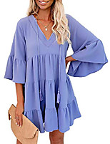cheap -gosopin women tunic dress v neck ruffle swing shift dresses medium solid sky blue