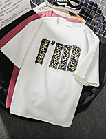 cheap -Women's Tee / T-shirt Pure Color Crew Neck Leopard Letter Printed Sport Athleisure Top Short Sleeves Breathable Soft Comfortable Everyday Use Casual Daily Outdoor