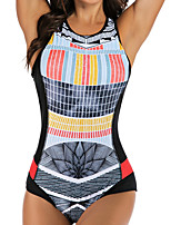 cheap -Women's Rash Guard Diving Swimsuit Tummy Control Push Up Slim Solid Color Color Block Gray Swimwear Bodysuit Scoop Neck Bathing Suits New Neutral Sports