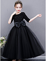 cheap -Princess / Ball Gown Jewel Neck Floor Length Tulle Junior Bridesmaid Dress with Sash / Ribbon / Bow(s)