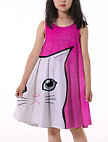 cheap -Kids Little Girls' Dress Cat Animal Print Fuchsia Knee-length Sleeveless Flower Active Dresses Summer Regular Fit 5-12 Years