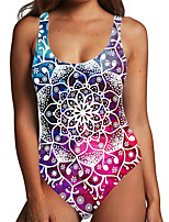 cheap -Women's One Piece Monokini Swimsuit Tummy Control Print Floral 3D Rainbow Swimwear Bodysuit Strap Bathing Suits New Fashion Sexy