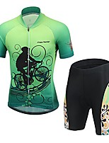 cheap -kids girls boys short sleeve cycling jersery with 3d padded bicycle bike shorts pants green bicycler set xxxl