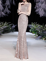cheap -Mermaid / Trumpet Sparkle Sexy Wedding Guest Formal Evening Dress Jewel Neck 3/4 Length Sleeve Floor Length Sequined with Sequin Tassel 2021