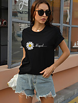 cheap -Women's T shirt Letter Print Round Neck Tops Cotton Basic Basic Top White Black Red