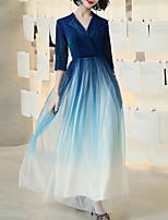 cheap -A-Line Glittering Elegant Wedding Guest Formal Evening Dress V Neck Half Sleeve Floor Length Tulle with Sash / Ribbon 2021