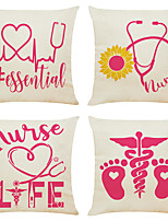 cheap -4 pcs Linen Pillow Cover, Holiday Simple Classic Square Zipper Traditional Classic