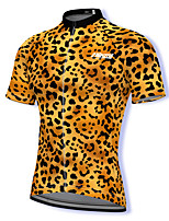 cheap -21Grams Men's Short Sleeve Cycling Jersey Spandex Yellow Leopard Bike Top Mountain Bike MTB Road Bike Cycling Breathable Quick Dry Sports Clothing Apparel / Athleisure