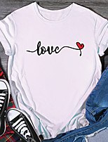 cheap -Women's T shirt Graphic Print Round Neck Tops 100% Cotton Basic Basic Top White Purple Red