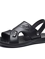 cheap -Men's Sandals Casual Outdoor Walking Shoes PU Dark Brown Black Summer