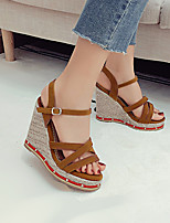 cheap -Women's Sandals Wedge Heel Open Toe Wedge Sandals Sexy Preppy Roman Shoes Daily Office & Career PU Solid Colored Light Brown Black Gray