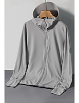 cheap -KORAMAN Men's Hoodie Jacket Hiking Shirt / Button Down Shirts Hiking Skin Jacket Autumn / Fall Spring Summer Outdoor Solid Color UV Sun Protection UPF50+ Ultraviolet Resistant Quick Dry Jacket Hoodie