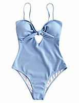 cheap -nomusing swimsuits for women one piece bathing suits high waisted cutout solid bikini push-up tie knot front swimwear blue