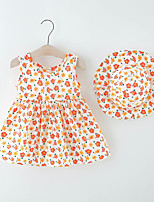 cheap -Toddler Little Girls' Dress Flower Print Blue Orange Knee-length Sleeveless Regular Dresses Summer Loose 2-6 Years