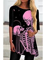 cheap -Women's T Shirt Dress Tee Dress Short Mini Dress Black Half Sleeve Print Color Block Print Spring Summer Round Neck Casual 2021 S M L XL XXL 3XL