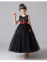 cheap -Princess / Ball Gown Jewel Neck Ankle Length Tulle Junior Bridesmaid Dress with Sash / Ribbon / Bow(s)