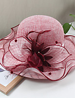 cheap -Vintage Style Elegant Tulle / Linen / Polyester Blend Hats / Headwear / Straw Hats with Feather / Appliques / Split Joint 1 Piece Casual / Holiday Headpiece