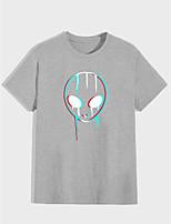 cheap -Men's Unisex T shirt Hot Stamping Graphic Prints Alien Plus Size Print Short Sleeve Daily Tops 100% Cotton Basic Fashion Classic Black Gray