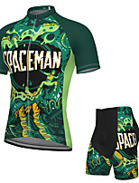cheap -Men's Short Sleeve Cycling Jersey with Shorts Spandex Green Bike Breathable Quick Dry Sports Graphic Mountain Bike MTB Road Bike Cycling Clothing Apparel / Stretchy / Athletic / Athleisure