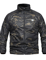 cheap -Men's Hunting Jacket Outdoor Waterproof Windproof Wearproof Fall Spring Solid Colored Camo Polyester Jungle camouflage Black Camouflage