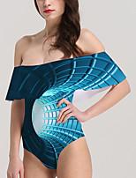 cheap -Women's New Vacation Fashion Monokini Swimsuit Color Block 3D Tummy Control Ruffle Print Bodysuit Normal Off Shoulder Swimwear Bathing Suits Blue / One Piece / Party