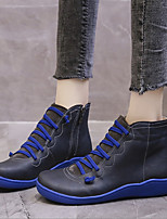 cheap -Unisex Boots Wedge Heel Round Toe Booties Ankle Boots PU Lace-up Burgundy Blue Green