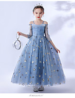 cheap -Princess / Ball Gown Spaghetti Strap Ankle Length Tulle Junior Bridesmaid Dress with Pleats / Appliques