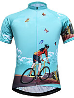 cheap -21Grams Women's Short Sleeve Cycling Jersey Spandex Blue Butterfly Bike Top Mountain Bike MTB Road Bike Cycling Breathable Sports Clothing Apparel / Stretchy / Athleisure