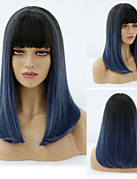 cheap -Synthetic Wig Natural Straight Neat Bang Wig Medium Length A15 A16 A10 A11 A12 Synthetic Hair Women's Cosplay Party Fashion Blue