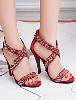 cheap -Women's Sandals Stiletto Heel Round Toe PU Synthetics Black Red Green