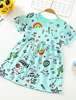 cheap -Kids Little Girls' Dress Graphic Letter Print Green Short Sleeve Basic Cute Dresses Regular Fit