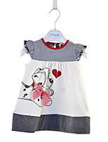 cheap -Kids Little Girls' Dress Dog Animal Print Gray Knee-length Sleeveless Active Dresses Summer Regular Fit 2-6 Years