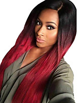 cheap -Synthetic Wig Natural Straight Middle Part Wig Long Black / Burgundy Synthetic Hair Women's Cosplay Party Fashion Black Burgundy
