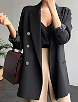 cheap -Women's Single Breasted One-button Blazer Solid Colored Dailywear Black S / M / L