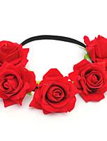 cheap -Holiday Christmas Wreath 7CM Artificial Flower Head Flower Single-sided Velvet Rose Flower Hair Ornament Bridal Headdress