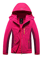 cheap -Women's Hiking Softshell Jacket Hiking Windbreaker Hiking Fleece Jacket Autumn / Fall Winter Spring Outdoor Patchwork Thermal Warm Quick Dry Lightweight Breathable Hoodie Winter Jacket Top Ski