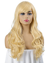 cheap -Synthetic Wig Curly Asymmetrical Side Part Wig Medium Length Light Blonde Synthetic Hair Women's Cosplay Party Fashion Blonde