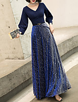 cheap -A-Line Glittering Elegant Wedding Guest Formal Evening Dress V Neck Long Sleeve Floor Length Spandex Tulle with Sash / Ribbon Buttons 2021