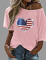 cheap -Women's T shirt Graphic Heart National Flag Print Round Neck Diagonal Neck Tops Beach Basic Top White Blue Yellow