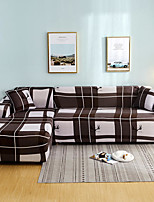 cheap -Brown Check Print Dustproof All-powerful Slipcovers Stretch L Shape Sofa Cover Super Soft Fabric Couch Cover with One Free Pillow Case