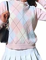 cheap -women argyle plaid pullover sweater y2k e-girl sweater long sleeve sweater slim fit ribbed tank crop top (a-pink, s)