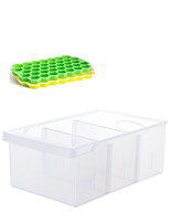 cheap -Fridge Storage Set of 2 pcs Silicone Ice Cube Trays with Lids and 1 pc Plastic Refrigerator Storage Food Grade BPA Free for Chilled Drinks Whiskey Cocktail