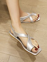 cheap -Women's Sandals Flat Heel Square Toe PU Synthetics Black Champagne Gold