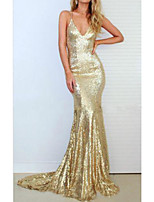 cheap -Mermaid / Trumpet Sparkle Sexy Engagement Prom Dress V Neck Sleeveless Sweep / Brush Train Sequined with Sequin 2021