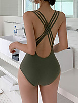 cheap -Women's One Piece Swimsuit Solid Colored Padded Swimwear Bodysuit Swimwear White Green Breathable Quick Dry Comfortable Sleeveless - Swimming Surfing Water Sports Summer / Spandex