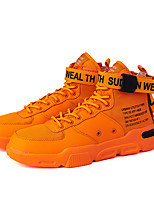 cheap -Men's Sneakers Skate Shoes Business Athletic Basketball Shoes Fitness & Cross Training Shoes Faux Leather Tissage Volant Breathable Non-slipping Height-increasing Mid-Calf Boots White Yellow Orange