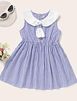 cheap -Kids Toddler Little Girls' Dress Striped Print Blue Knee-length Sleeveless Active Dresses Summer Regular Fit 2-8 Years