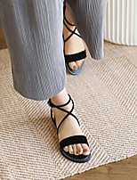 cheap -Women's Sandals Boho Bohemia Beach Flat Heel Round Toe PU Synthetics Almond Black