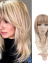cheap -Curly Mid-length Yellow Gradient White Wig Chemical Fiber Wig Full Bangs Wig Headgear